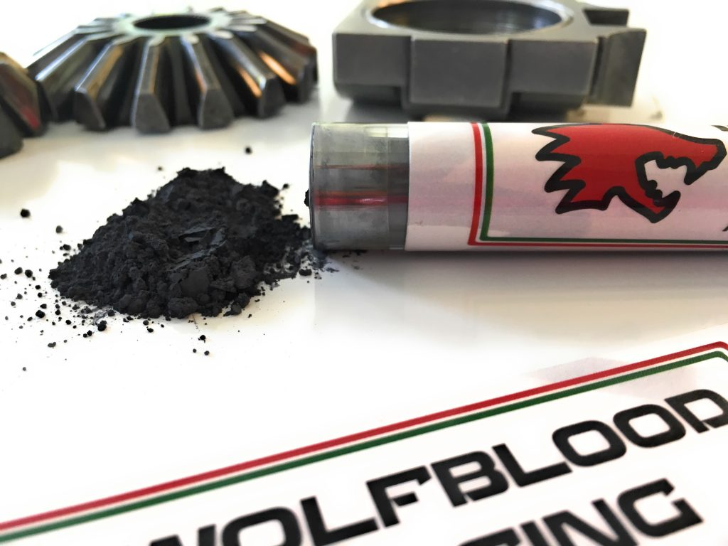 wolfblood racing advanced engine oil modifier additive grease lubricant motor tube powder close up